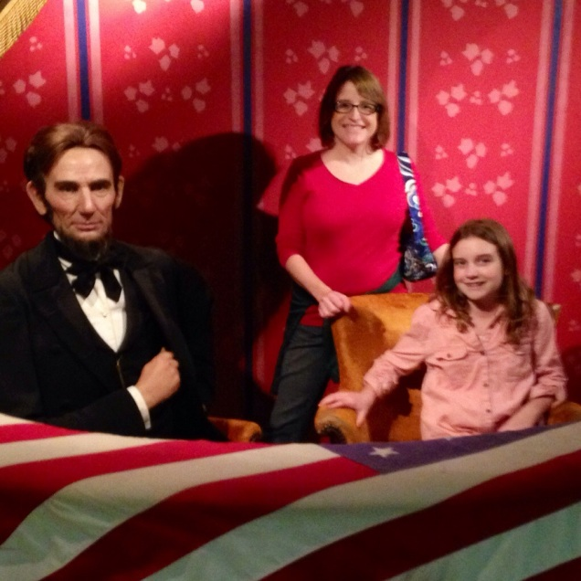 Shannon and Maggie, hanging out at the theater with President Lincoln.