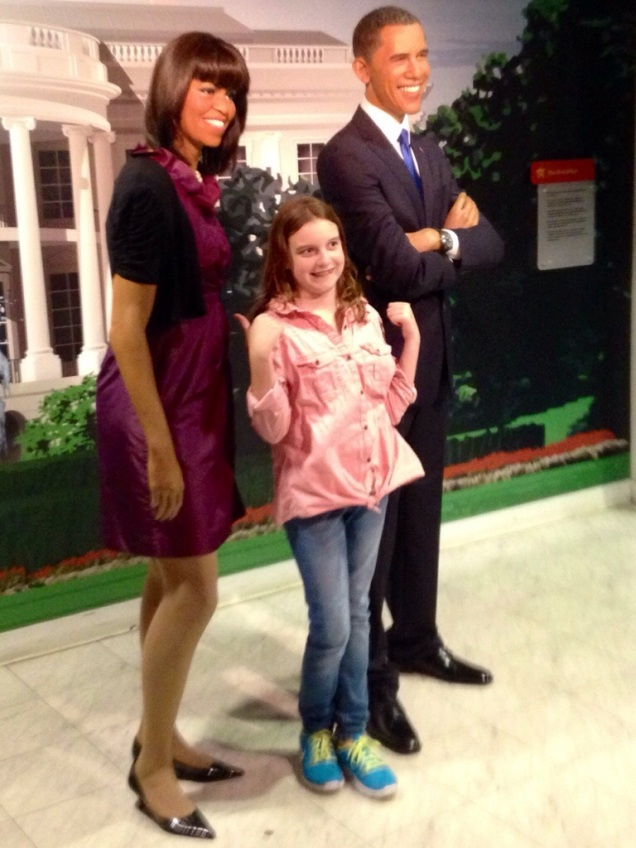 The closest Maggie got to meeting the Obamas this weekend.