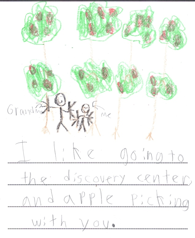37. I like going to the Discovery Center and apple picking with you. (Declan)