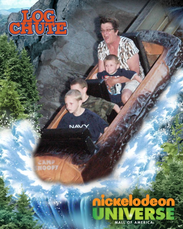 15. Grandma Mary will do the log chute with us! -- Jack, Scott, and Hugh, grand-nephews