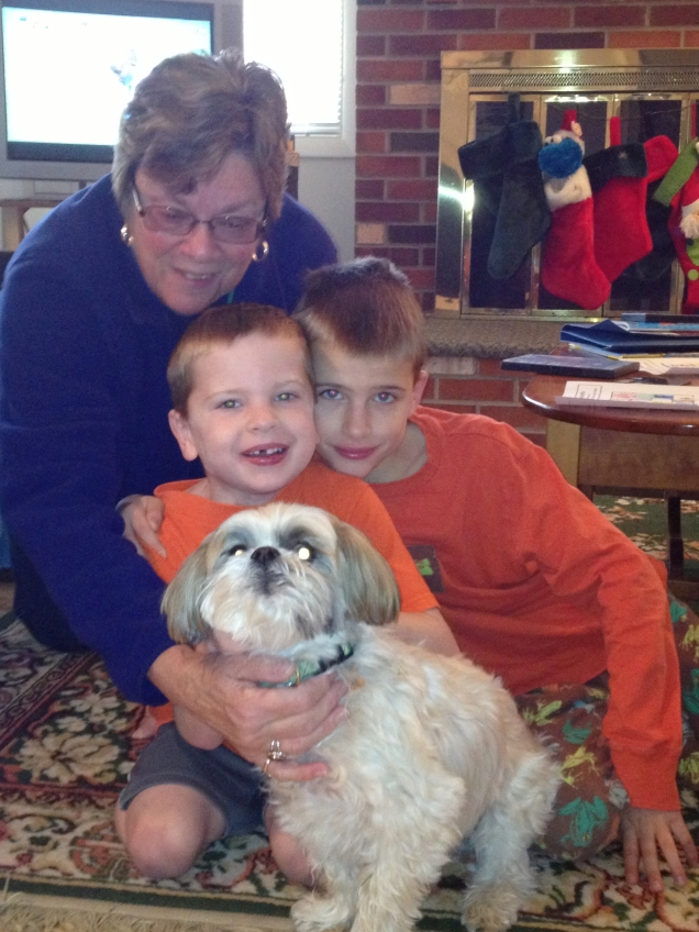 Mom and her boys: Gavin, Declan, and Toby.