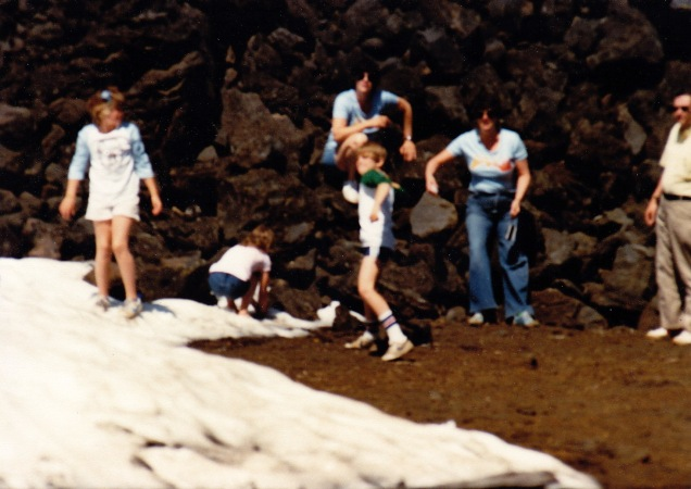 Summer snowball fight, Oregon, c. 1982