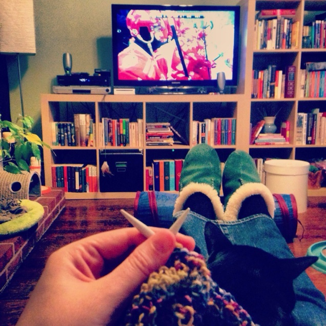 The bulk of my New Year's Day involved a cat on my lap, knitting in my hands, and hockey on my tv.