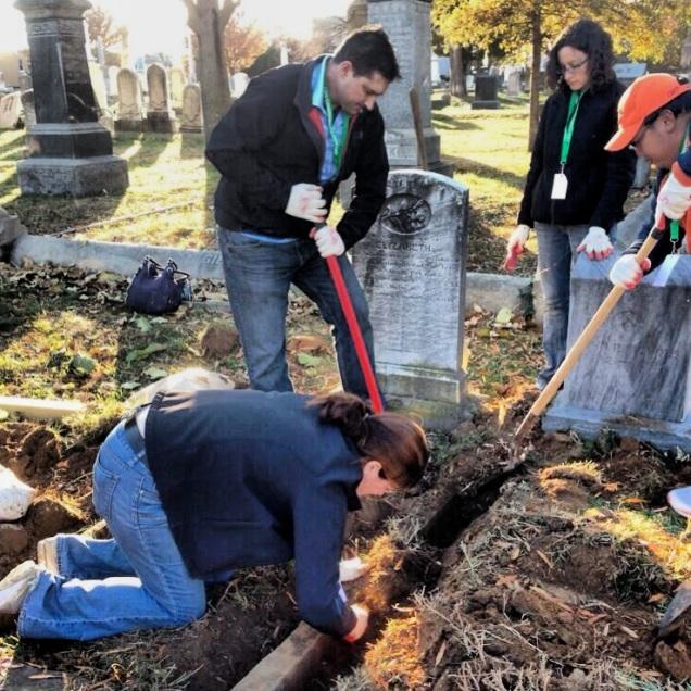 Grave digging.