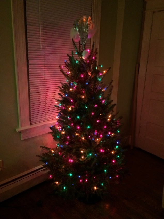 The lights are on, but ornaments will have to wait until tomorrow.