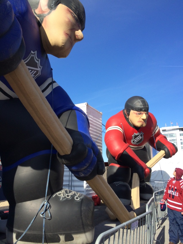 There were giant, inflatable hockey players at the pregame fan fest.