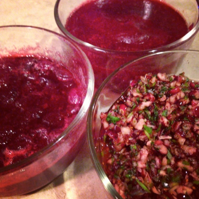 Cranberries three ways -- salsa on the right.